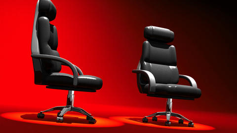 Two Spotlighted Business Chairs On Red Background CG動画