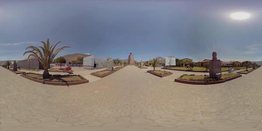 360Vr Ciudad Mitad Del Mundo Entrance Pathway Of Sculptures In Quito Ecuador On Footage