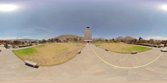 360Vr The Equator Line In Front Of Ciudad Mitad Del Mundo Monument In Quito Footage