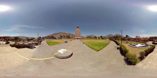 360Vr The Equator Line At Ciudad Mitad Del Mundo Monument In Quito Ecuador In Footage