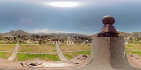 360Vr Aerial View Of The Landscape At Ciudad Mitad Del Mundo Monument In Quito Footage