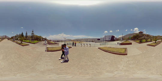 360Vr Entrance Of Ciudad Mitad Del Mundo Monument Facing Unasur Building In Footage