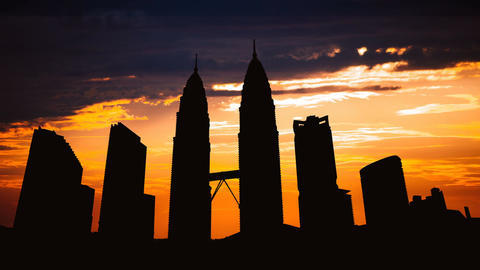 Timelapse of Kuala Lumpur cityscape silhouette on sunset in Malaysia Footage