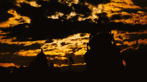 Timelapse of beautiful sunset at Saint Petersburg city historical center Footage
