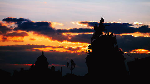 Timelapse of beautiful sunset at Saint Petersburg city historical center Footage