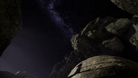 Astrophotography star trails over sandstone canyon walls Footage