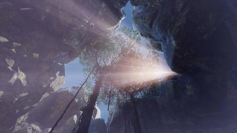 Impressive sunshine through open cave ceiling, blazing sunstar Footage