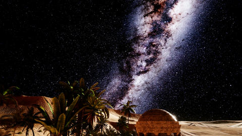 Ancient Roman time town in desert and Milky Way stars Footage