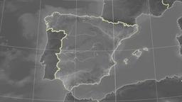 Spain and neighborhood. Grayscale Animation