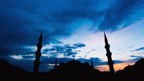 Timelapse of famous Sultanahmet or Blue Mosque in Istanbul cityscape at sunset Live Action