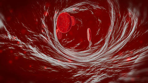 3D blood cells traveling through a vein. Red blood cells flowing in artery Bild