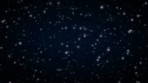 Beautiful Stars in Dark Deep Space. Looped Animation. Black Night with Twinkling Animation
