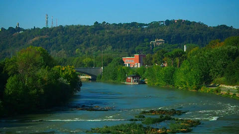 the Tiber River in Rome Footage