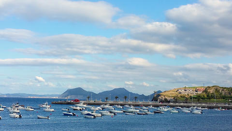 parking of boats and yachts in the bay in Castro-Urdiales フォト