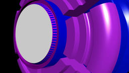 Fiction background with rotating cylinder purple blue. 3d rendering Animation