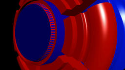 Fiction background with rotating cylinder red blue. 3d rendering CG動画素材