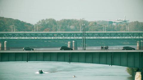 Bridges over the Vistula river in Warsaw, Poland Footage