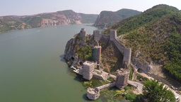 Aerial view of old fortress on the beautiful Danube river Footage