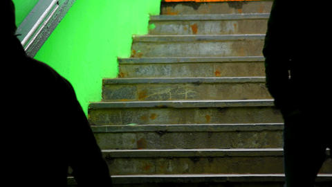 1080p People on Dark Green Subway Staircase Footage