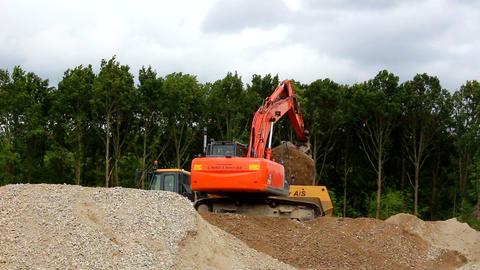 Huge excavator digging sand Footage