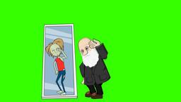 Darwin Cartoon Character Sees his Inner Wild Man: Greenscreen + Loop Animation