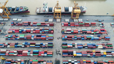 Aerial view of container ship in import export and business logistic ビデオ