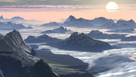 Mountain Peaks in the Clouds Animation