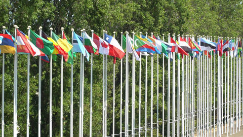 World Flag Poles In Lisbon, Portugal Live Action
