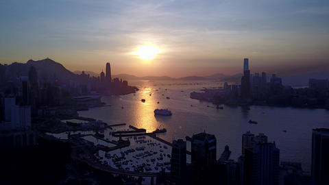 Wonderful aerial picture of Victoria Harbour, Hong Kong at sunset Footage