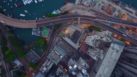Elevated roadway at urban city shore, top-down aerial view at morning Footage