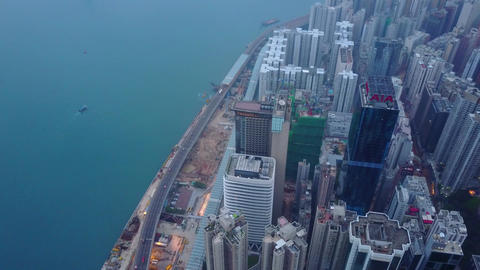 Dense developed shore at North Point district, Hong Kong aerial cityscape Footage