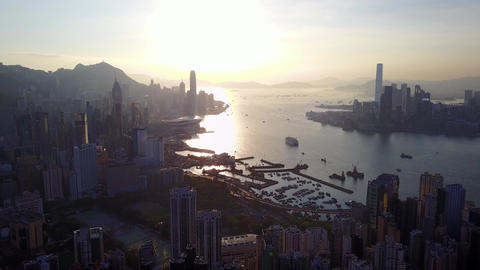 Hong Kong Island crowded with tall towers and skyscrapers, aerial view Footage