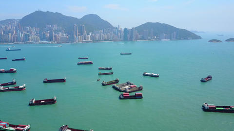 Local container ships anchored at Victoria Harbour against fairway and Sai Wan Footage