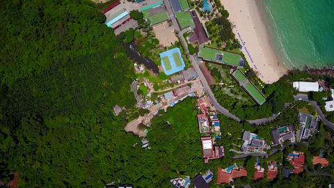 North end of Kata Noi beach, top-down aerial shot in sunny day Footage