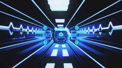 Spaceship Flight inside a Sci-Fi Blue Tunnel Motion Background Animation