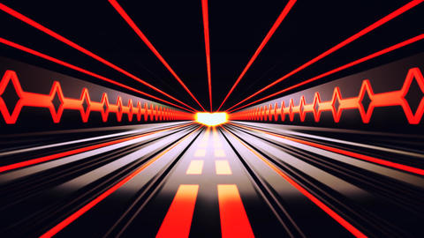 3D Orange Sci-Fi Tron Tunnel Loopable Motion Background Animation