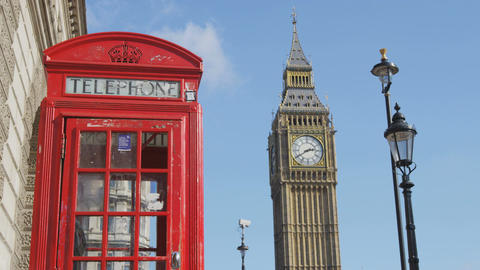 Red Telephone Booth And Big Ben In London by Phone box in England Footage