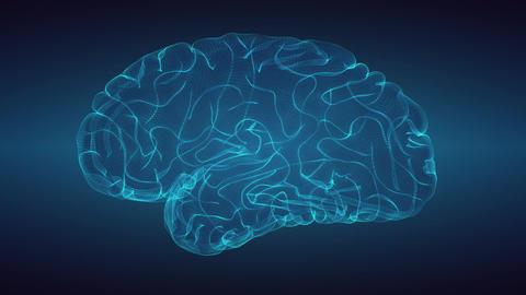 Glowng brain over graduated dark background 画像
