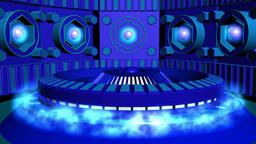 Fiction background blue with cylinder and lamps with glow. 3d rendering Animation