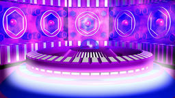 Fiction background purple blue with cylinder and lamps with glow. 3d rendering Animation