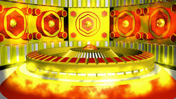 Fiction background yellow red with cylinder and lamps with glows. 3d rendering Animation