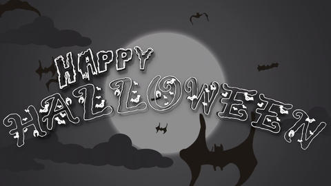 Halloween Text Animation With Flying Bat Filmmaterial