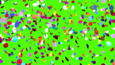Falling Confetti on a Green Background Animation