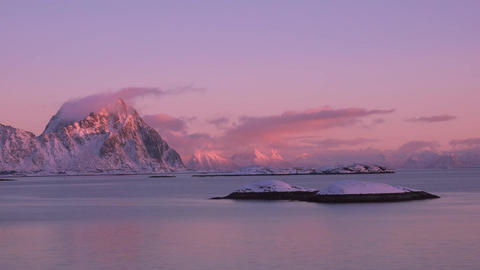 Winter Sunset over the Fjord. Time Lapse Footage