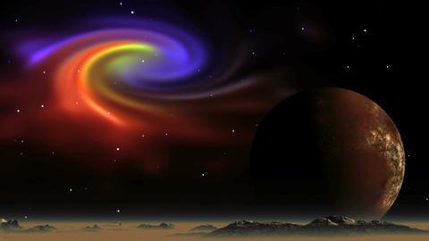Beautiful Nebula and Alien Planet Videos animados