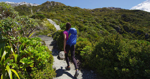Hiking woman in New Zealand Mount Cook nature mountain landscape Live Action