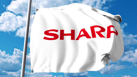 Waving flag with Sharp Corporation logo against clouds and sky. 4K editorial Live Action