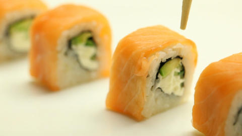 Taking sushi roll Footage