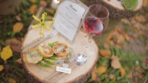 Eco forest wedding wedding table Footage