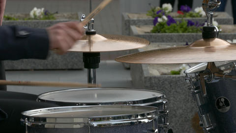 4K Ungraded: Jazz Drummer Playing Drum Set in Open Air Footage